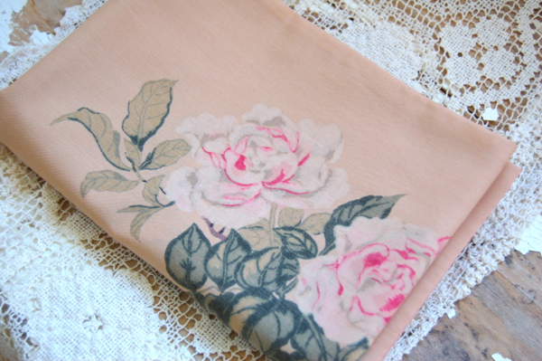 Vintage Pillowcase: Roses and Birds