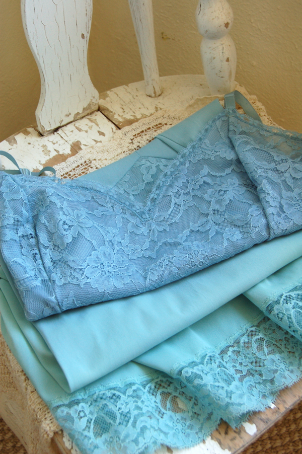 Vintage Full Slip in Sea Foam Green Ombre