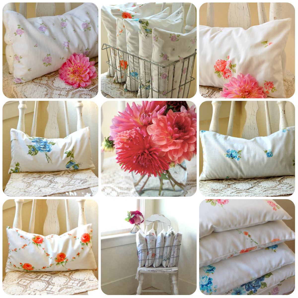 Vintage Roses Buckwheat Hull Pillows